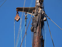 Sails ropes pulley. Pulley for sails and ropes made from wood on an old sail boat Stock Photography
