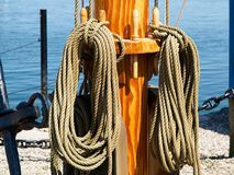 Sails ropes pulley sailing background image Royalty Free Stock Images