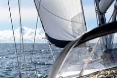 Sails of a sailing yacht in the wind Royalty Free Stock Image