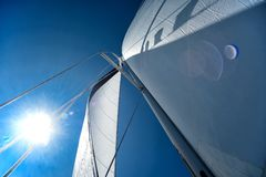 Sails of a sailing yacht in the wind Royalty Free Stock Photos