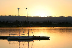 Sails at sunset. Shoreline Park in Northern California Royalty Free Stock Photography