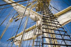 Sails and tackles of a sailing vessel Royalty Free Stock Photo