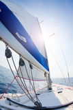 Sails up. Fisheye view of a bow of a sailboat with sails up stock photography