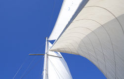 Sails in wind. Big sail mast and the sails stock image