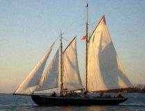 Sailship bij Zonsondergang Stock Afbeeldingen