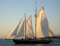 Sailship en la puesta del sol Imagenes de archivo