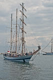Sailship entering harbor Royalty Free Stock Photo