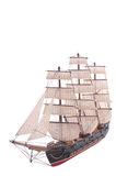 Sailship Model On White Stock Photos