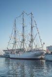 Sailship mooring in a harbor Royalty Free Stock Photos