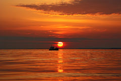 Sailship på solnedgången Royaltyfri Fotografi