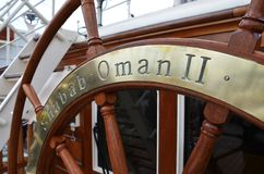Sailship Shabab阿曼II方向盘 免版税库存照片