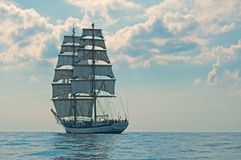 Sailing Ship. Polish tall ship Fryderyk Chopin under sails in the Bay of Finland Royalty Free Stock Photography
