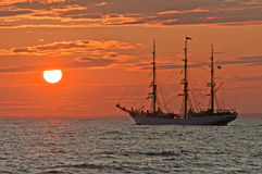 Classic Sailship in sunset Royalty Free Stock Photography