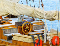 Sailship wheelhouse Stock Photography