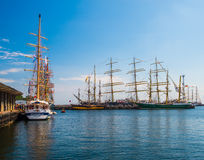 Sailships in a harbor Royalty Free Stock Photos