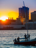 SailSunset3. Sailing on the Hudson River Stock Photos