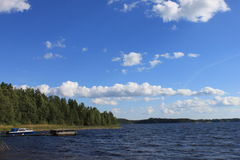 Saimaa with boat Stock Photography