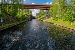 Saimaa Canal shipping lock. First Saimaa Canal shipping lockwith open gate and bridges over canal. Saimaa, Finland stock photos