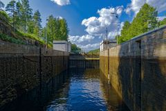 Saimaa Canal shipping lock. Spillway in first Saimaa Canal shipping lock. Saimaa, Finland royalty free stock images
