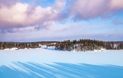 Saimaa lake. Rural winter landscape. Coasts of Saimaa lake. Rural winter landscape, Finland stock images