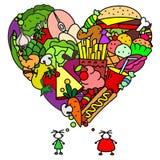 Sain et nourriture industrielle pour des personnes Images libres de droits
