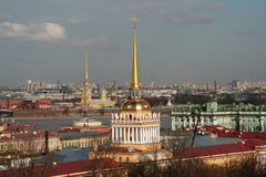 The view on Saint-Petersburg from the roof of Saint Isaak Cathedral in the sunny winter day Stock Photo