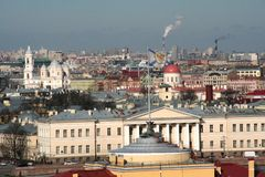 The view on the historical center of Saint-Petersburg from the roof of Saint Isaak Cathedral in the sunny winter day Royalty Free Stock Photos