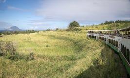 Sain Kitts Scenic Railway. SAINT KITTS, CARIBBEAN, 29 DECEMBER 2015 - The scenic railway on the island of St Kitts with the island of Nevis in the distance stock photo