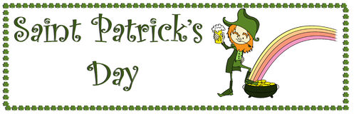 Sain patrick's day banner. Illustrated banner for sain patrick's day with a drinking leprichaun Royalty Free Stock Image