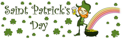 Sain patrick's day banner. Illustrated banner for sain patrick's day with a drinking leprichaun Stock Photo