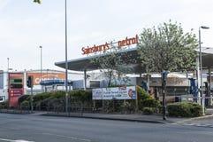 Sainsbur's Petrol Station building Royalty Free Stock Image