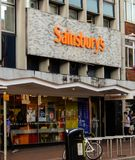 Sainsbury Store Front. Reading, United Kingdom - June 22 2018: The store frontage of Sainsburys supermarket in Friar St stock image