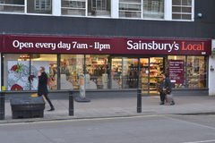 Sainsburys地方商店 免版税库存图片