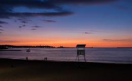Saint吉恩在夏天日落期间的de Luz 库存图片