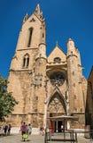 Saint吉恩de Malte Church前面门面在艾克斯普罗旺斯 库存照片