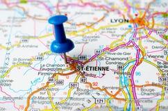 Saint-Étienne on map. Saint Étienne on map with push pin. Saint Stephen, Sant-Etiève stock photography