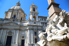 Saint Agnese in Agone with Egypts obelisk in Piazza Navona, Rome Royalty Free Stock Images