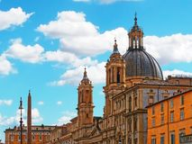 Saint agnese church facade navona square rome italy Royalty Free Stock Image