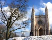 Saint Alexander Nevsky Orthodox church (Gothic chapel) in Alexandria park. Suburb of Saint Petersburg, Russia Stock Image