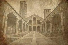 Saint Ambrogio Basilica Milan Italy old postcard Royalty Free Stock Photo
