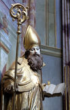 Saint Ambrose. On the main altar of Holy Cross, parish Church of the Immaculate Conception of the Virgin Mary in Lepoglava, Croatia Stock Image