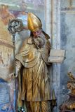 Saint Ambrose. Statue in the church of Immaculate Conception in Lepoglava, Croatia Stock Photo