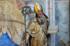 Saint Ambrose. Statue in the church of Immaculate Conception in Lepoglava, Croatia Stock Image