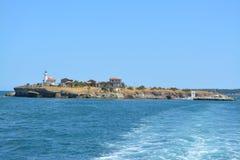 Saint Anastacia Island no Mar Negro - a Bulgária foto de stock royalty free