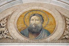 Saint Andrew the Apostle. Mosaic in the basilica of Saint Paul Outside the Walls, Rome, Italy Stock Photos