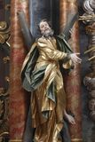 Saint Andrew the Apostle. Statue on the altar in the Baroque Church of Our Lady of the Snow in Belec, Croatia Royalty Free Stock Images