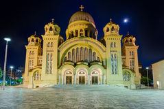 Saint Andrew basilica at night, the largest church in Greece, Patras, Peloponnese. Saint Andrew of Patras is a Greek Orthodox basilica. It is the largest church royalty free stock photography