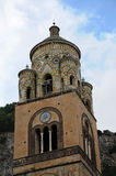 Saint Andrew cathedral. Bell tower  of Saint Andrews cathedral in Amalfi city, Italy,. It is  covered with Byzantine mosaics and polychrome faience.The cathedral Royalty Free Stock Images