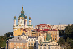 Saint Andrew Church in Kiev, Ukraine, seen from the bottom of the hill of the same name. The Saint Andrew`s Church is a major Baroque church located in Kiev, the royalty free stock image