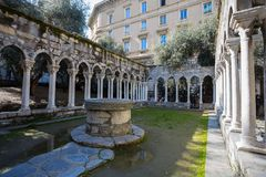 Saint Andrew cloister ruins near the house of Christopher Columbus, Casa di Colombo, in Genoa, Italy. Thisi is one of the most important monument of the city Royalty Free Stock Image